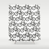 Bicycle Stamp Pattern - … Shower Curtain