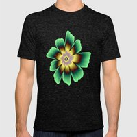 Gold and Green Daisy Flower on Pink Mens Fitted Tee Tri-Black SMALL