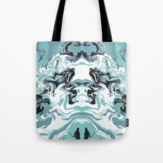 Woman Holding Sky with Dragons Tote Bag