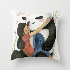 Cuddling with Panda Throw Pillow