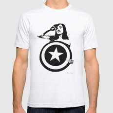 Captain Girl America Mens Fitted Tee Ash Grey SMALL