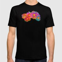Bright Sketch Flowers Mens Fitted Tee Black SMALL