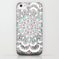 iPhone 5c Cases featuring Pastel Floral Medallion on Faded Silver Wood by Tangerine-Tane