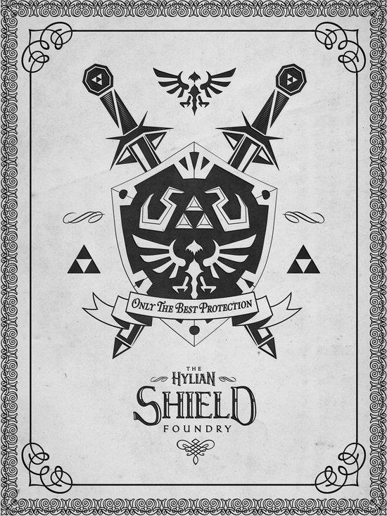 Legend of Zelda Hylian Shield Foundry logo Iconic Geek Line Artly Art Print