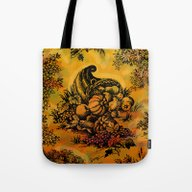 Harvest Time Toile Tote Bag