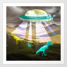 Aliens do exist - dino exctinction event Art Print