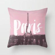 Pink Paris Eiffel Tower Throw Pillow