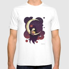 Golden Butterfly Moon Mens Fitted Tee White SMALL