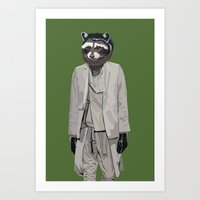 Raccoon Wearing Ann Deme… Art Print
