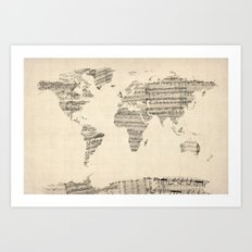 Old Sheet Music World Map Art Print