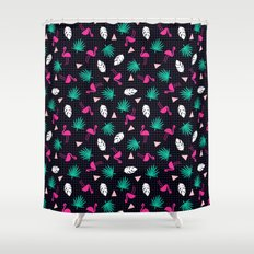 The Dillio - palm springs memphis throwback grid pattern flamingo tropical chilled vibes Shower Curtain