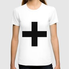 Black Plus on White /// www.pencilmeinstationery.com Womens Fitted Tee White SMALL