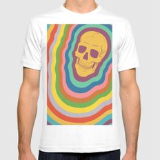Trippy Rainbow Skull White SMALL Mens Fitted Tee