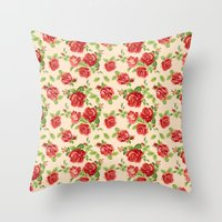 Rose pattern- cream Throw Pillow