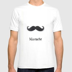 Mustache SMALL White Mens Fitted Tee