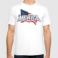 'MERICA Mens Fitted Tee White SMALL