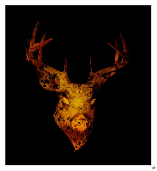 Cervus (Gold Negative Version) Art Print