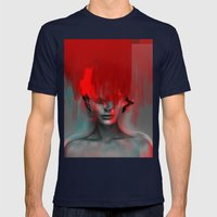 Red Head Woman Mens Fitted Tee Navy SMALL