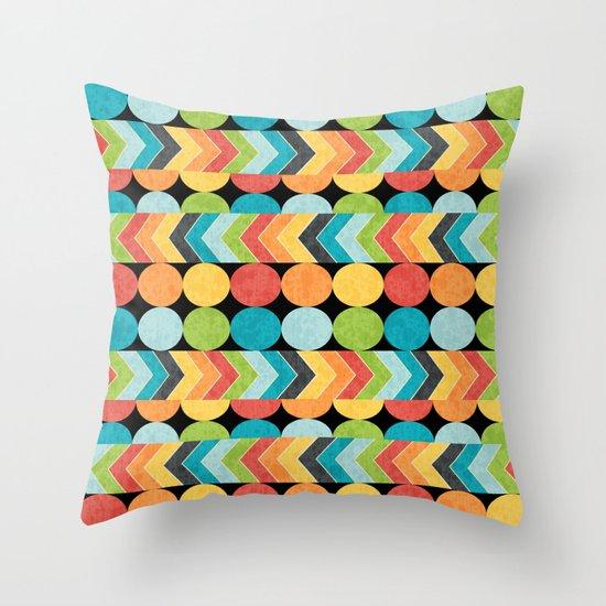 Retro Color Play Throw Pillow