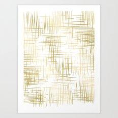 Crosshatch Gold Art Print