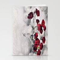 Winter  Red Roses Stationery Cards