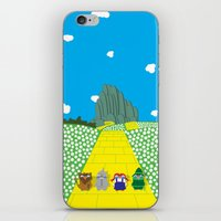 Pengwins that are following a brick road that is yellow iPhone & iPod Skin