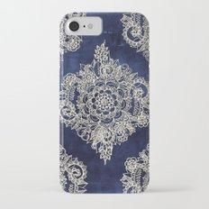 Cream Floral Moroccan Pattern on Deep Indigo Ink Slim Case iPhone 7