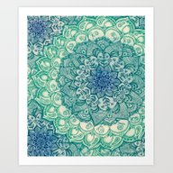 Art Print featuring Emerald Doodle by Micklyn