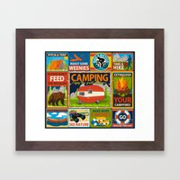 Camping Crests Framed Art Print