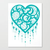 Heart-Catcher Teal Canvas Print
