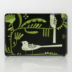 GREEN ON BLACK WITH BIRDS iPad Case