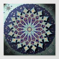 Mosaic Mandala in Blue Canvas Print
