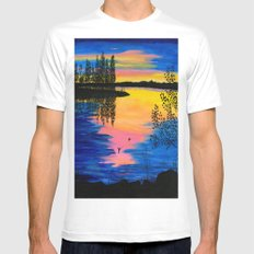 Dawn at the Lake White Mens Fitted Tee SMALL