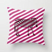 Nerd Zebra (Pink) Throw Pillow