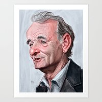 bill murray Art Prints featuring Bill Murray by Mike Robinson Illustration