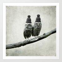 owls Art Prints featuring Owls by Juste Pixx Designs
