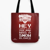 """Tote Bag featuring Johnny 5 """"Laser Lips Red Edition"""" by Tom Ryan's Studio"""