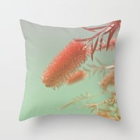 Red Fluffy Plant Throw Pillow
