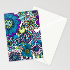 Welcome birds to  my garden. blue Stationery Cards