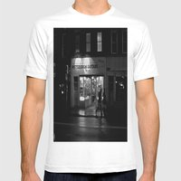 Walking By Guitars Mens Fitted Tee White SMALL