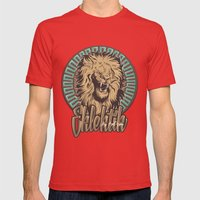 Lion print Mens Fitted Tee Red SMALL