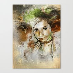Girl with Green Hair Canvas Print