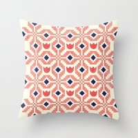 Coral Flowers Throw Pillow