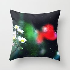 Flowers, My Heart And The Stars Throw Pillow