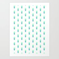 cactus - white Art Print