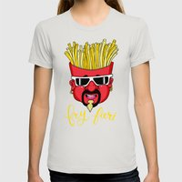 Fry Fieri Womens Fitted Tee Silver SMALL