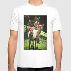Tis The Season - Reindeer White Mens Fitted Tee SMALL