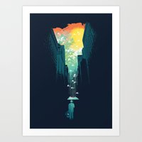 city Art Prints featuring I Want My Blue Sky by Picomodi