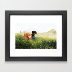 Girl and her dog Framed Art Print