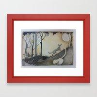 Fox, Moon and Rabbit Framed Art Print